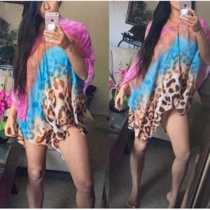 Multi colored bikini cover up